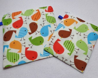 Reusable Snack/Sandwich zippered bags. Blue Bird print ,Eco friendly set of 2. Ready to ship.