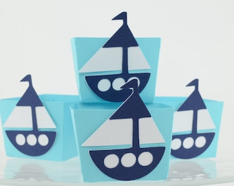 Sailboat Candy Cups, Nautical Baby shower, 12 Candy Cups Boxes, Nautical Birthday, Boy Baby Shower,Navy Blue and Light Turquoise