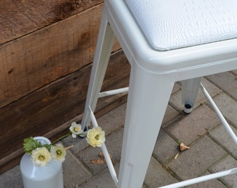"""Custom Upholstered Seat Cushion Tolix Style 24"""" Counter Stools:  in the Fabric of Your Choice"""