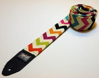 Chevron Guitar Strap - CHEVRON RAINBOW - Top Seller - Handmade