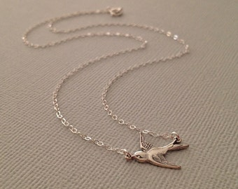 Sparrow Necklace in Sterling Silver -Silver Bird Necklace -Tiny Bird Necklace -Tiny Swallow Necklace in Sterling
