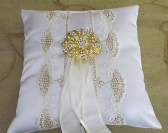 Gold and Ivory Wedding Ring Bearer Pillow, OOAK, Gold Ring Cushion, Ivory Gold Ring Pillow,  Couture Wedding Ring Pillow