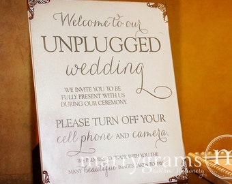 Unplugged Wedding Ceremony Sign Sign - Turn Off Cell Phone Signage - Matching Table Numbers - Wedding Guest Card SS01