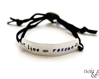 Unisex Live Love Rescue Bracelet - Hand stamped, aluminum, faux suede cord, black, silver, dog, cat, animal lover