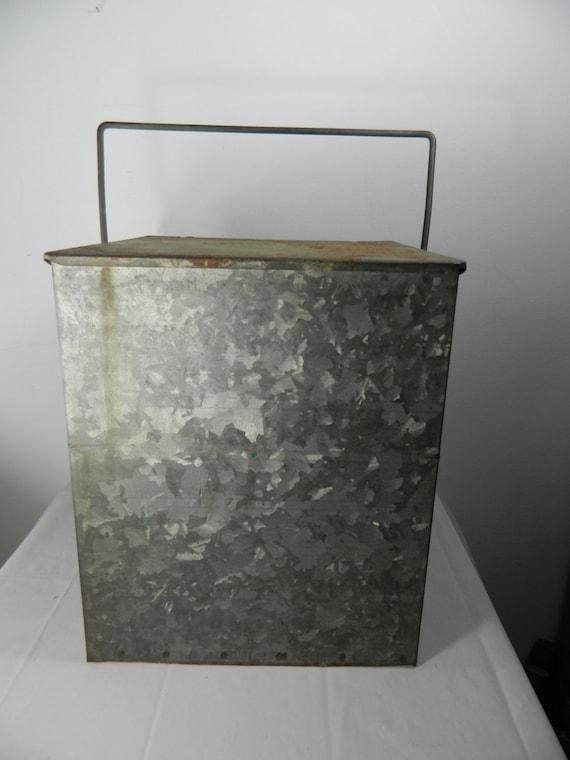 vintage porch milk box galvanized milk box cooler. Black Bedroom Furniture Sets. Home Design Ideas