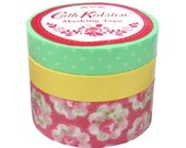 Japanese Washi Masking Tape Set - Cath Kidston X Mark's 2012 - Red - 3 rolls - 20mm & 10mm Wide - 13 yards (each roll)