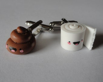Happy Poop and Toilet Paper Cufflinks!