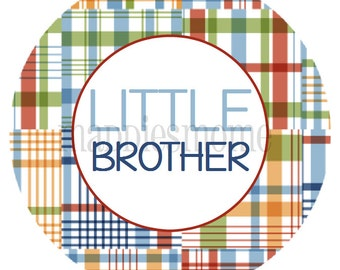 Little Brother Iron on T shirt Transfer Plaid (Paxton)