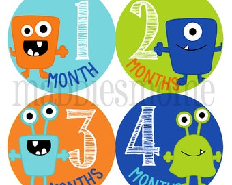 Monthly Baby Boy Stickers Baby Month Stickers, Monthly Bodysuit Sticker, Monthly Stickers (Mod Monsters)