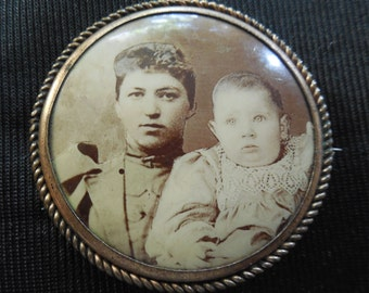 Antique Photo Pin Of Woman and Child From The 1800's