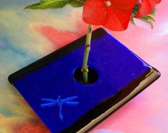 7 x 5 inch Fused Glass Ikebana Vase Blue Black Dichroic Glass Dragonfly Home Decor Flowers Pin Frog Bowl Flower Bud Vase Under 75