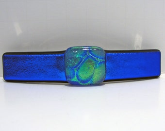 """Large 4"""" Dichroic Fused Glass Barrette Hair Barrette Blue Green Dichroic Glass Jewelry Unique Glass Art Gifts for Her Under 30 Dollars"""