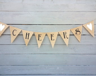 Cheers burlap banner bunting with white glittered hearts