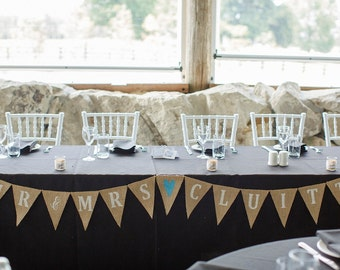 Mr & Mrs personalized burlap banner with your last name, wedding garland