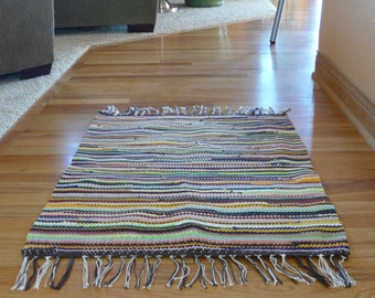 Handwoven T-Shirt Rug - Brown Multi Colors