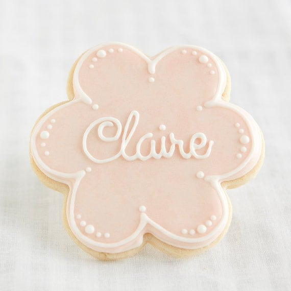 Items Similar To Flower Cookie Favors Personalized Name