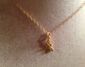 Dragonfly Necklace Gold Jewelry Pendant Jewellery Children Girls Nature Dainty