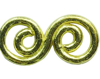 12 pcs per pack 27x14mm Double Swirl Link Gold tone Lead Free Pewter