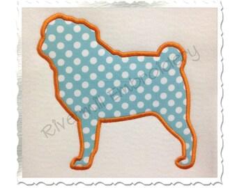 Applique Pug Dog Silhouette Machine Embroidery Design - 4 Sizes