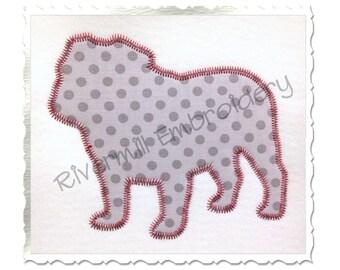 Zig Zag Applique Bulldog Silhouette Machine Embroidery Design - 4 Sizes