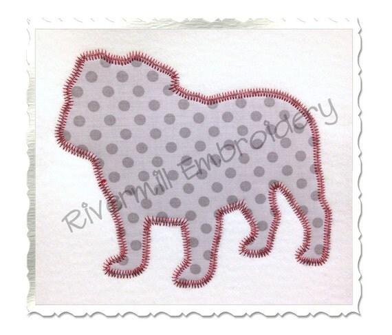 Bulldog Silhouette Applique Zig Zag Applique Bulldog