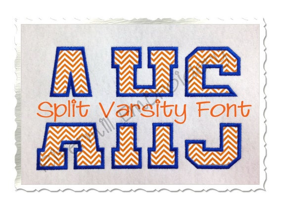 Split varsity alphabet machine embroidery sizes