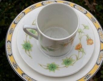 Tea Cup Bird Feeder Garden Decor, Delicate Orange Flowers, One-of-a-Kind