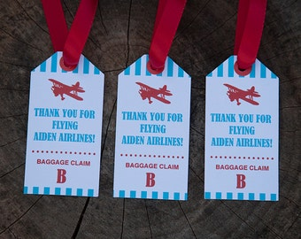 Airplane Birthday Party Favor Tags - Personalized Printable Airplane Favor Tags - Red & Teal