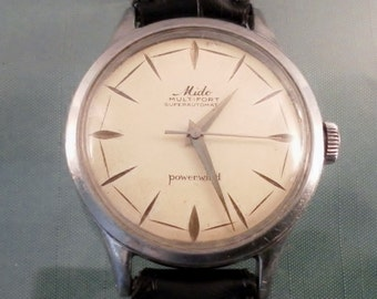 Vintage 1950's Mido Powerwind Superautomatic Watch. 17 Jewel Swiss Mvt. 917 P.  Leather Band. Fine Running Watch.