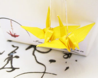 Origami Paper Bird Earrings - Bright Yellow Statement - Japanese Crane Jewellery - Paper craft