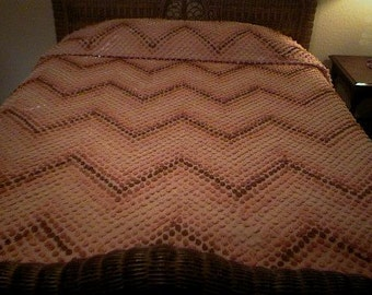 Sale - Chevron Stripe ORANGE, Rust and BROWN Handmade POPS Vintage Chenille Bedspread - Free Shipping