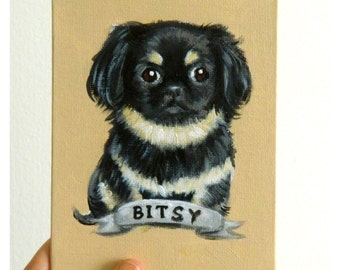 Custom Dog Portrait / Custom Pet Portrait - 1 Pets - Solid Background (4x6 inch) Original Painting on Canvas Board Birthday Anniversary Gift