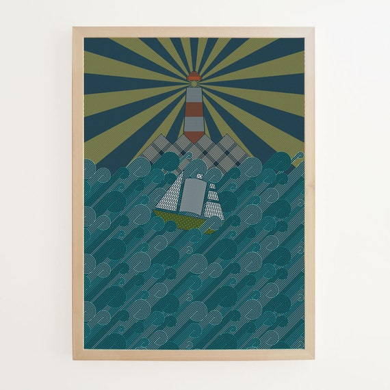 Beyond the Waves Giclee print. Nautical A2 art by Stuart Daly