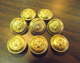 Eagle Crown Anchor Buttons Military Navy Battle -- Set of 8 Metal Button s Gold