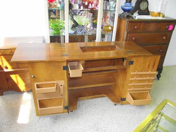 Sewing Machine Craft Table Cabinet Drop Leaf Shelves Storage