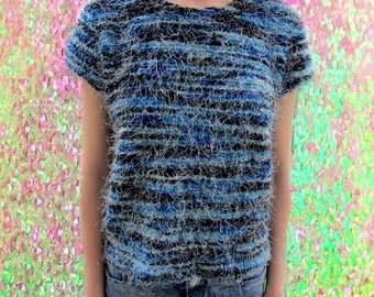Furry Striped Raver Grunge 90's Stretchy Shirt