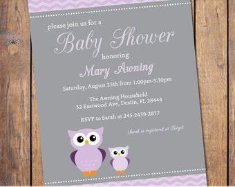 owl baby shower invitations, gender neutral baby shower invitation with owls, modern baby shower invite, Digital, Printable file (item149)
