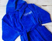 Children's Embroidered Terry Velour Robe - Personalized Kids Bathrobe