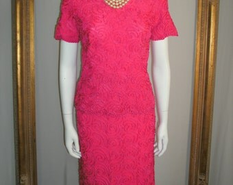 Vintage 1960's Sophisticated Miss Fuchsia 2-Piece Dress - Size 10