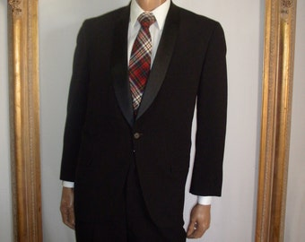 Vintage 1970's Lord West Men's Black Tuxedo - Size 44