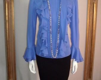 Vintage Fe Zandi Periwinkle Ruffled Blouse - Size 6