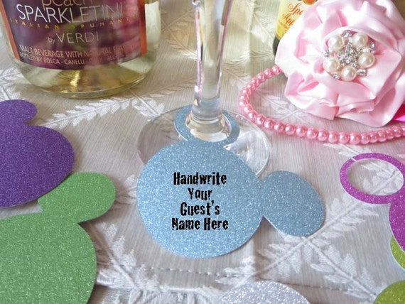 Mickey Wine Glass Charm / Tags / Labels - Use at Bridal Showers, Weddings & Engagement Party - 12 Tags in your color choice