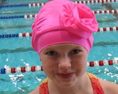 Fancy Ruched Swim Cap with Flower - Lycra SWiM CaP - BRiGHT PiNK - Infant - Toddler - Child - Adult - 4 sizes available