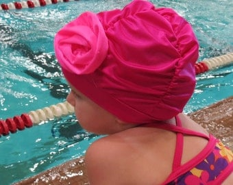 Fancy Ruched Swim Cap with Flower - Lycra SWiM CaP - Hot Pink and Bright Pink - Infant - Toddler - Child - Adult - 4 sizes available