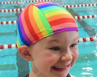 Lycra SWiM CaP - RAINBOW - Sizes - Baby , Child , Adult , XL - Made from Spandex / Swimsuit Swimming Fabric -by Froggie's Swim Caps