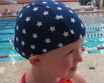 Lycra SWiM CaP - NAVY STARS - Sizes - Baby , Child , Adult , XL - Made from Spandex / Swimsuit Swimming Fabric -by Froggie's Swim Caps
