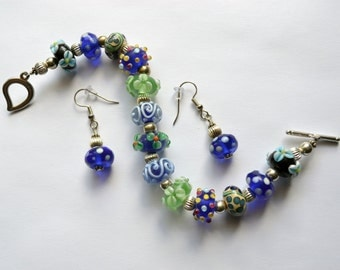 Lampwork bracelet and earrings - Blue Lampwork - Green Lampwork - Blue and Green bracelet