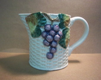 "Vintage Fitz & Floyd Ironstone Pitcher ""Sonoma Vineyard"" w/ Purple Grapes and Green Leaves on Ivory Basketweave 1 1/2 Qt."