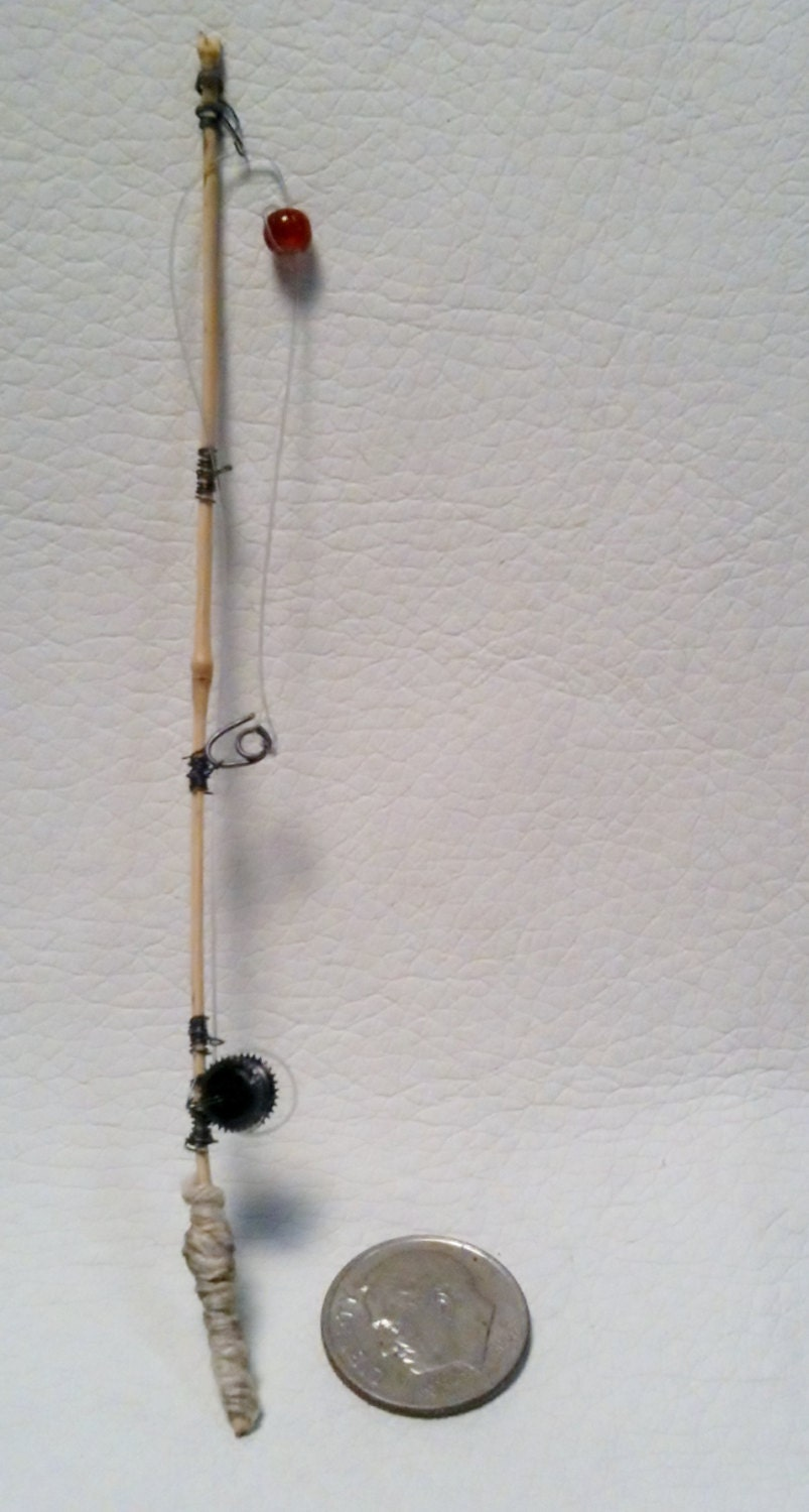 dollhouse miniature bamboo fishing pole 1 24 scale nautical