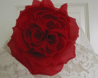 Silk Red Rose Bridal Wedding Bouquet Millinery